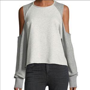 new RAG & BONE gray cutout slash pullover sweater